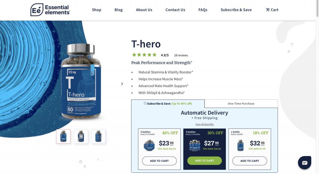 Essential Elements T-hero Website