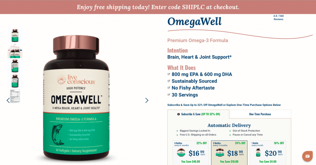 OmegaWell Fish Oil Live Conscious Website