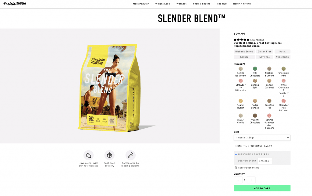 Protein World Slender Blend Website