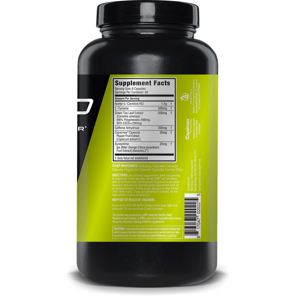 JYM Shred Supplement Facts