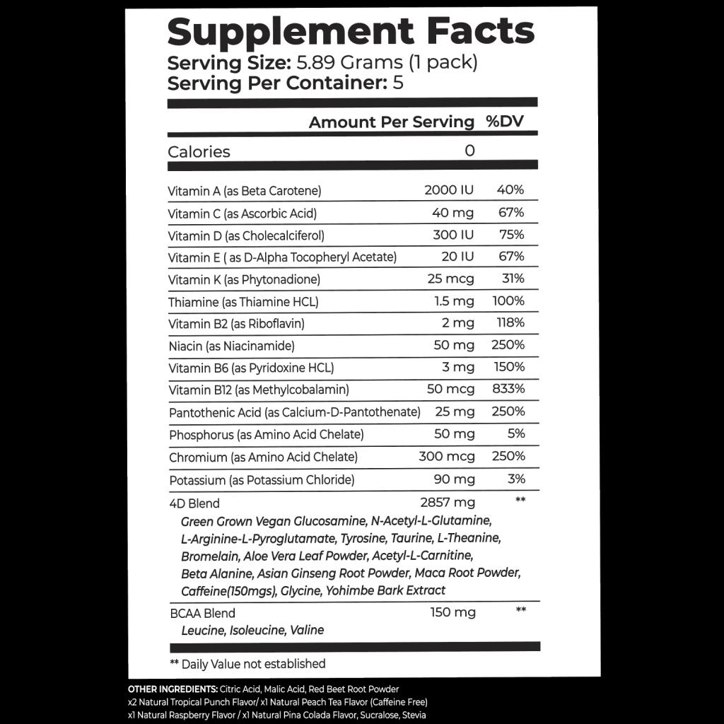4D Premium Sachet Supplement Facts