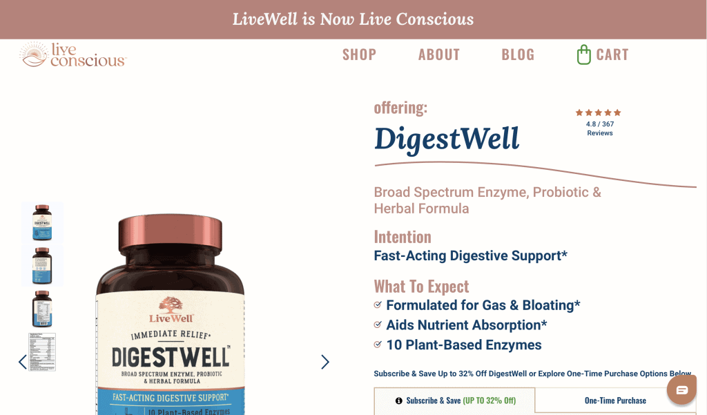 DigestWell Live Conscious Website