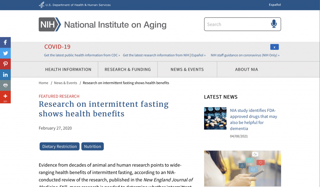 National Institute On Aging - Intermittent Fasting