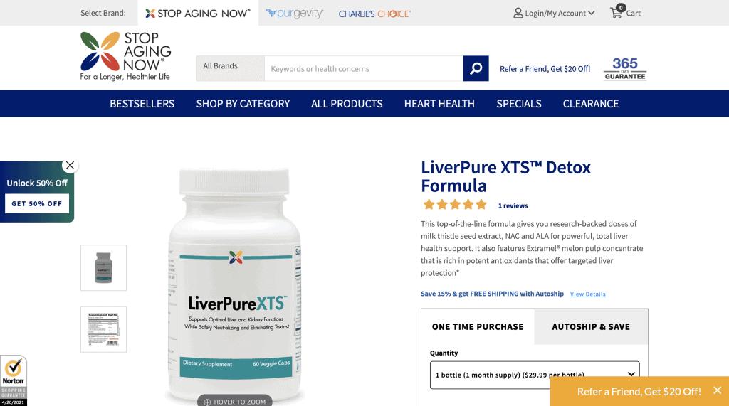 Stop Aging Now LiverPure XTS Website