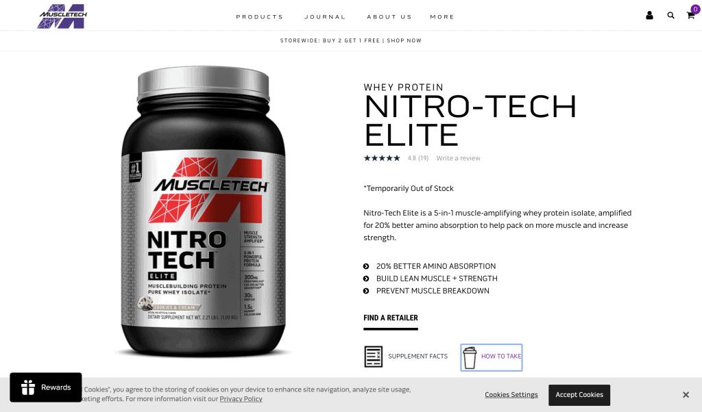 MuscleTech Nitro-Tech Elite Protein Website
