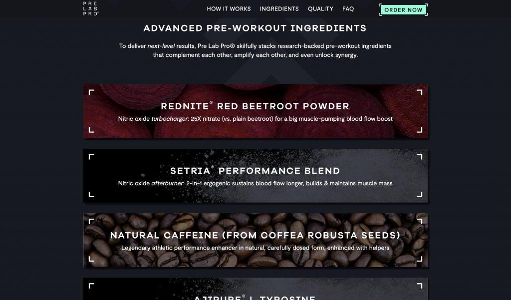 Pre Lab Pro Ingredients