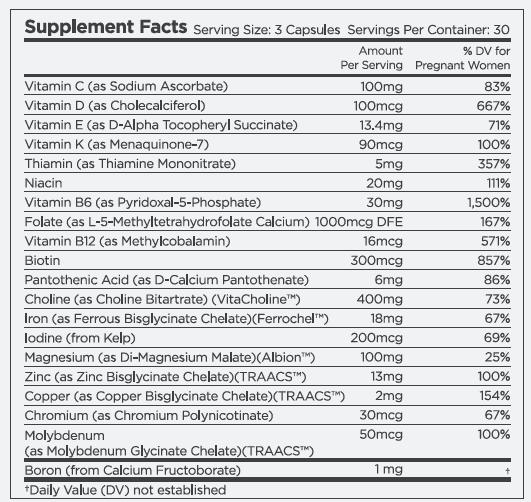 BeliWomen Prenatal Multivitamin-Supplement Facts