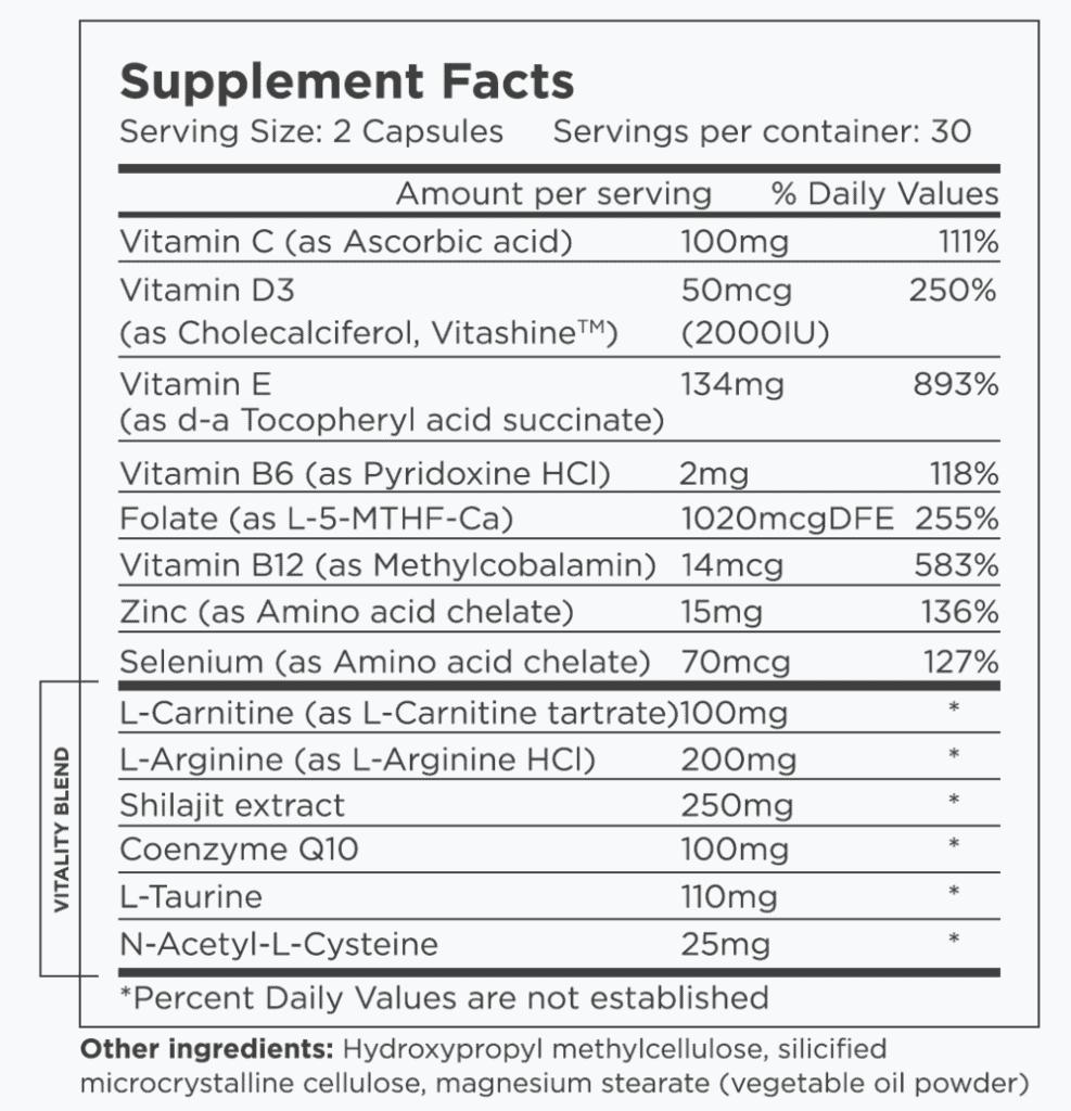 BeliMen Vitality Supplement Facts
