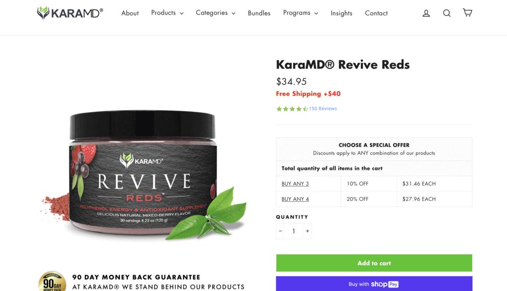 KaraMD Revive Reds Website