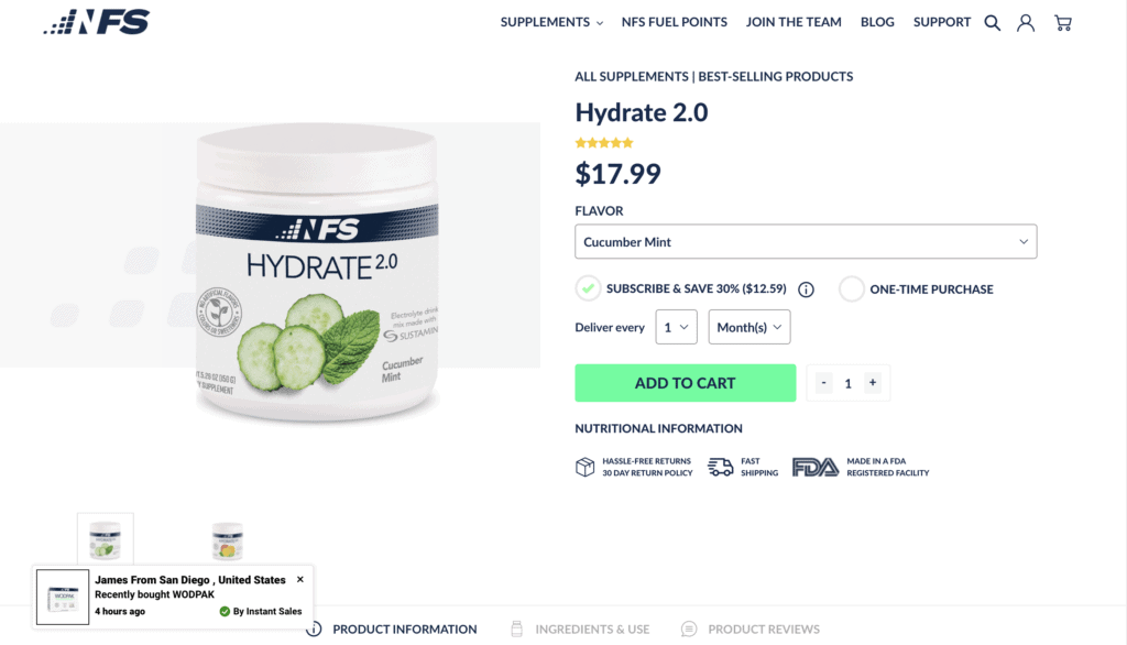 NF Sports Hydrate 2.0 Website