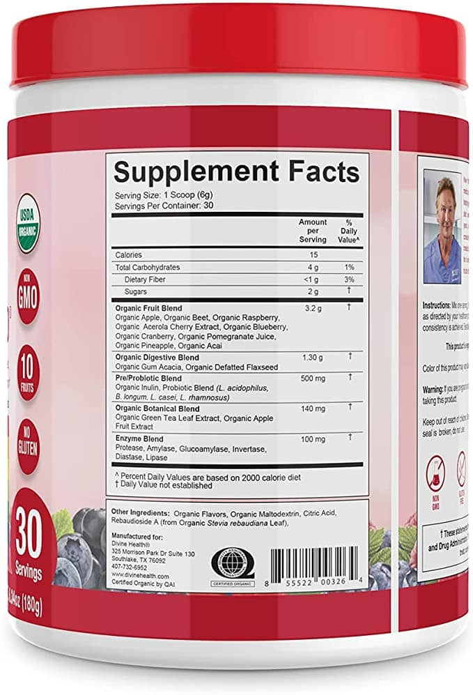Organic Red Supremefood Supplement Facts