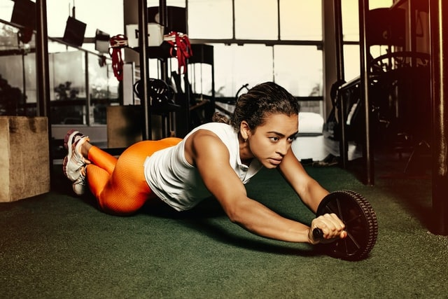 A woman is working out