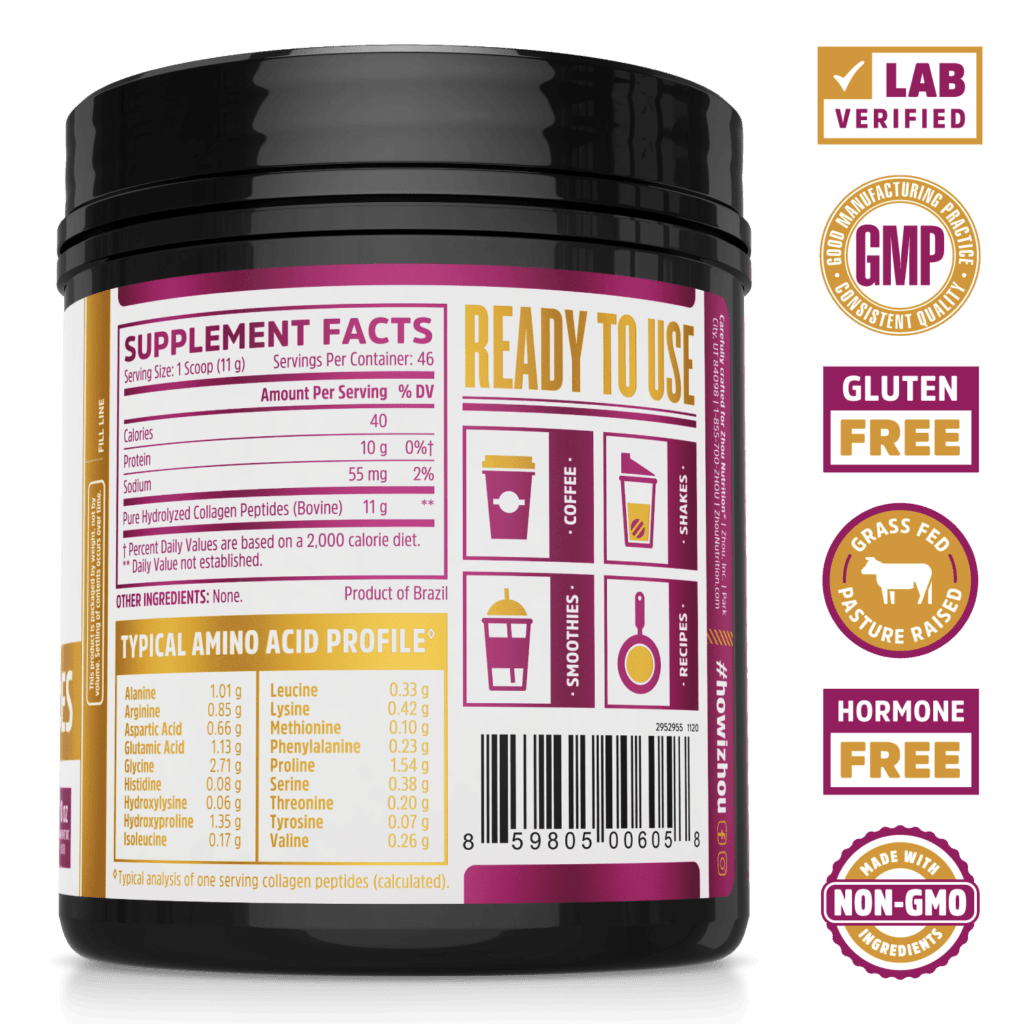 Collagen Peptides by Zhou Nutrition Supplement Facts