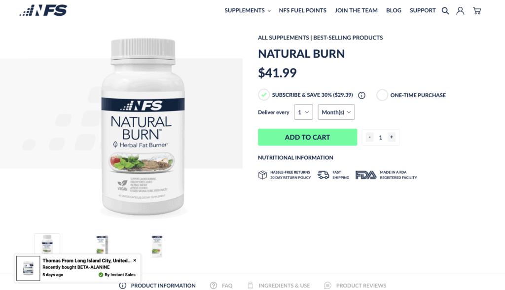 NF Sports Natural Burn Website