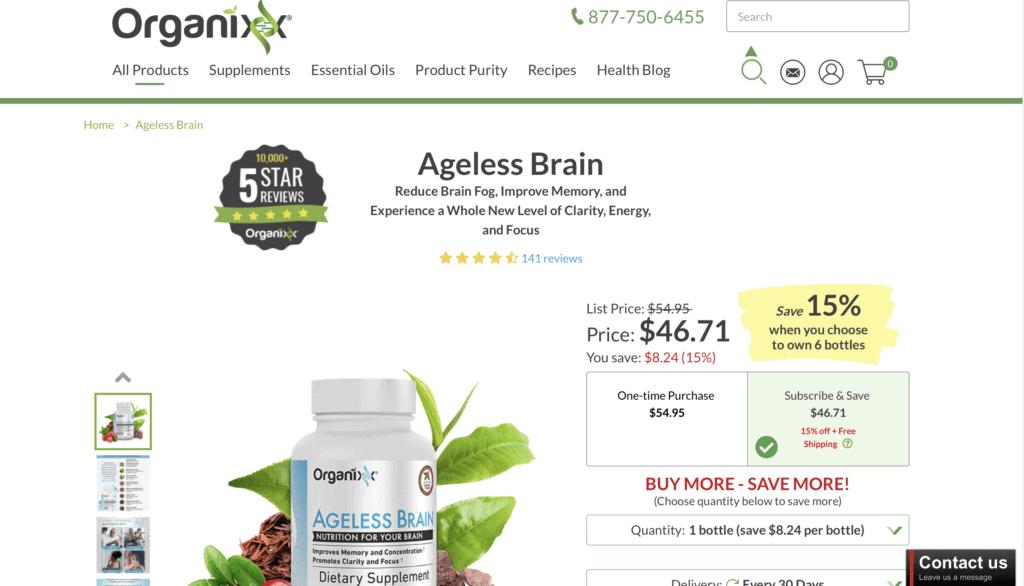 Organixx Ageless Brain Website