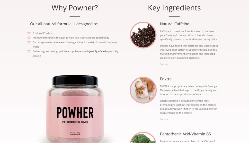 Powher Pre-Workout Ingredients