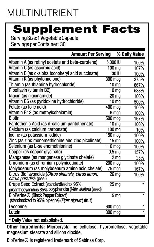 WODPAK Supplement Facts