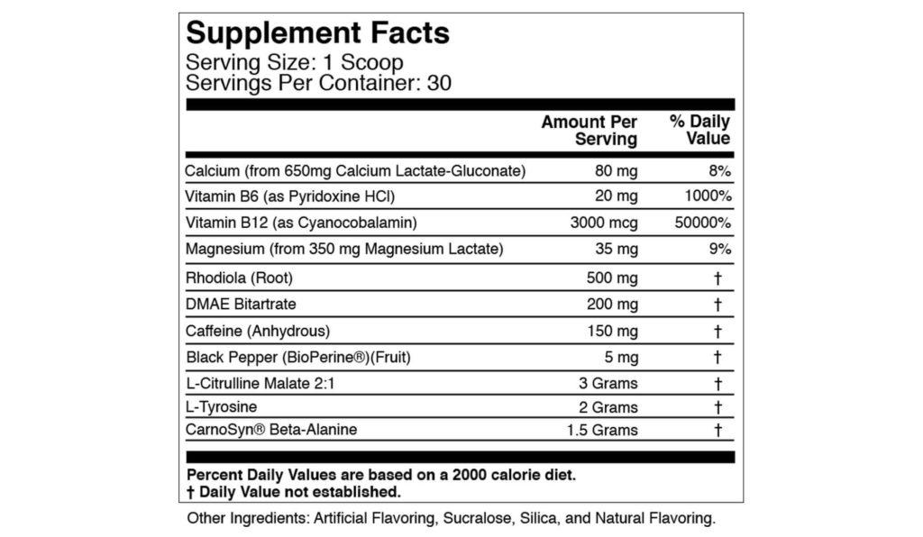 Xwerks Ignite Supplement Facts