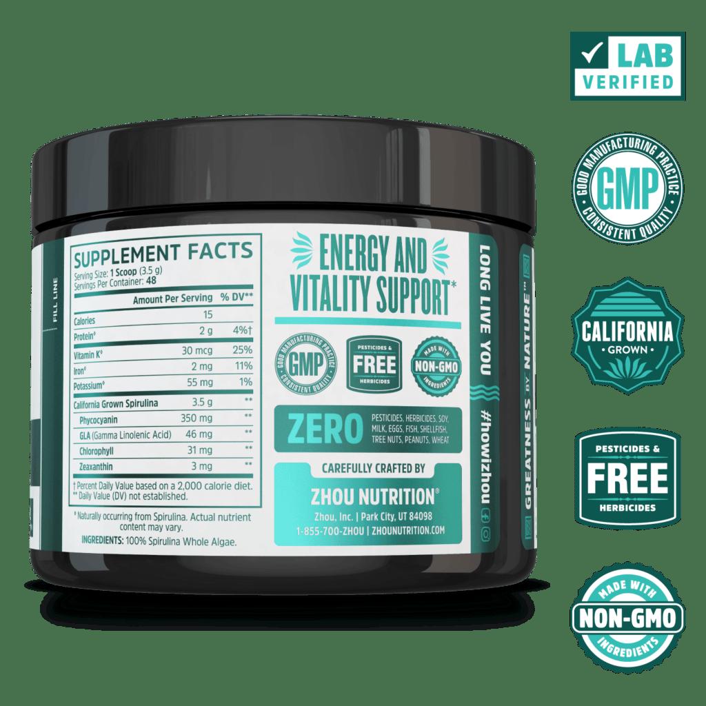 Zhou Nutrition Spirulina Powder Supplement Facts