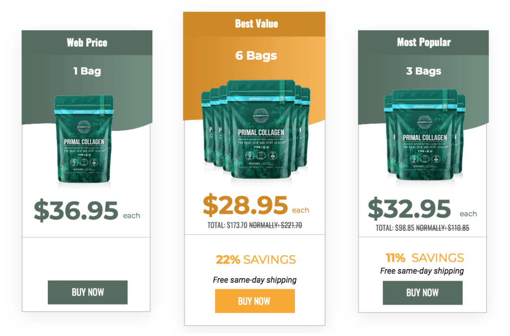 Primal Collagen Website Pricing